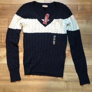 Cable knit rugby sweater
